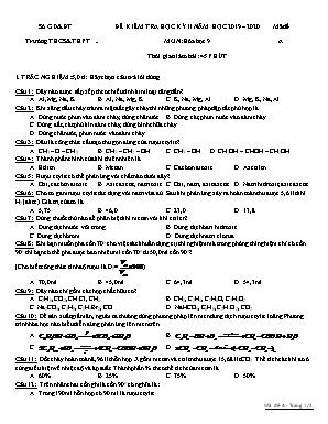 Đề kiểm tra học kỳ II môn Hóa học Lớp 9 - Mã đề A - Năm học 2019-2020