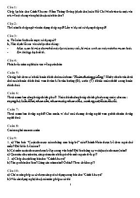 Đề kiểm tra học kỳ II môn Ngữ văn Lớp 7 (Có đáp án)