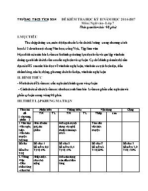 Đề kiểm tra học kỳ II môn Ngữ văn Lớp 7 - Năm học 2016-2017 - Trường THCS Tích Sơn (Có đáp án)
