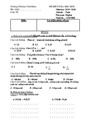 Đề kiểm tra học kỳ II môn Toán Lớp 5 - Năm học 2019-2020 - Trường Tiểu học Vĩnh Khúc