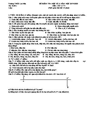 Đề kiểm tra học kỳ II môn Vật lý 9 - Năm học 2019-2020 - Trường THCS Lai Hòa (Có đáp án)