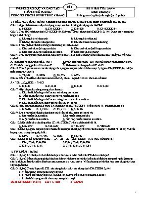 Đề kiểm tra lần 4 môn Hóa học Lớp 9 - Phòng giáo dục và đào tạo Thành phố Pleiku