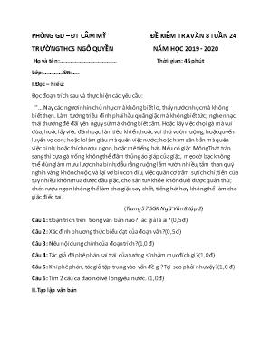 Đề kiểm tra tuần 24 môn Ngữ văn Lớp 8 - Trường THCS Ngô Quyền - Năm học 2019-2020