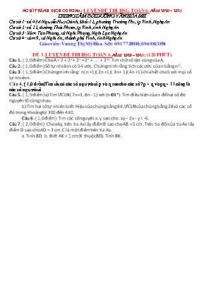 Đề luyện thi học sinh giỏi môn Toán Lớp 6 - Đề 3 - Năm học 2020-2021 - Vương Thị Mỹ Hòa (Có đáp án)