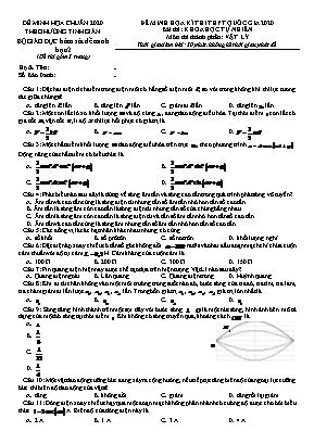 Đề minh họa kỳ thi THPT Quốc gia môn Vật lý năm 2020 (Kèm đáp án)