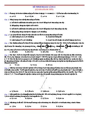 Đề minh họa thi Trung học Phổ thông Quốc gia môn Vật lý - Đề 02 (Có đáp án)