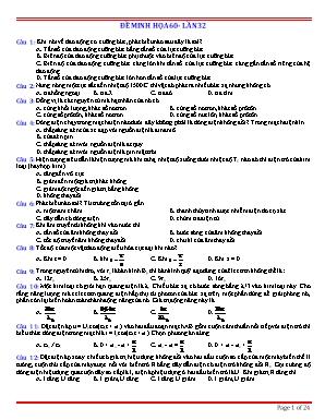 Đề minh họa thi Trung học Phổ thông Quốc gia môn Vật lý - Đề 60 (Có đáp án)