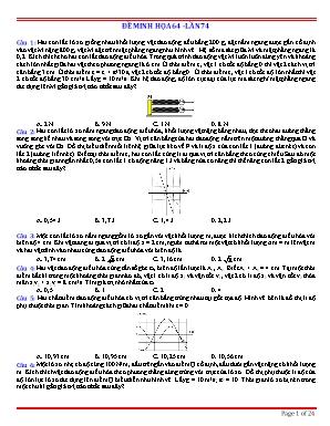 Đề minh họa thi Trung học Phổ thông Quốc gia môn Vật lý - Đề 64 (Có đáp án)