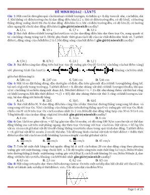 Đề minh họa thi Trung học Phổ thông Quốc gia môn Vật lý - Đề 62 (Có đáp án)