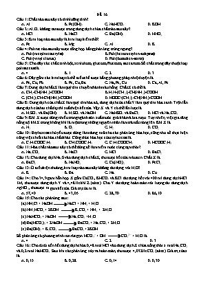 Đề ôn thi THPT Quốc gia môn Hóa học - Đề 16