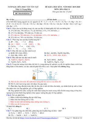 Đề tham khảo thi khảo sát chất lượng học kỳ II môn Hóa học Lớp 8 - Mã đề 103 - Năm học 2019-2020 - Lê Trọng Hiếu