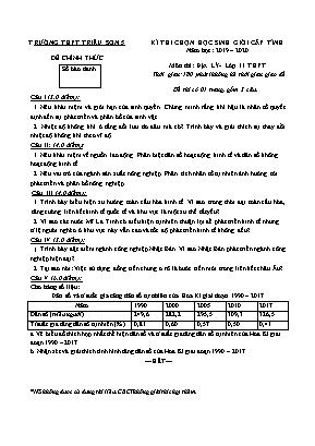 Đề thi chọn học sinh giỏi cấp tỉnh môn Địa lí Lớp 11 - Năm học 2019-2020 - Trường THPT Triệu Sơn 5 (Có đáp án)