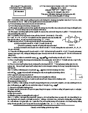 Đề thi chọn học sinh giỏi cấp trường môn Vật lí Lớp 11 - Năm học 2014-2015 - Trường THPT Yên Định 2 (Có đáp án)