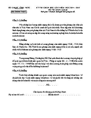 Đề thi chọn học sinh giỏi môn Lịch sử Lớp 9 - Năm học 2014-2015 - Sở giáo dục và đào tạo Vĩnh Phúc (Có đáp án)