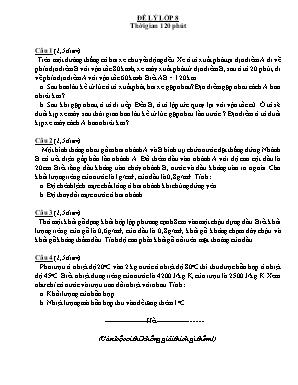 Đề thi chọn học sinh giỏi môn Vật lý Lớp 8 (Có đáp án)