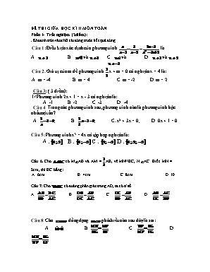 Đề thi giữa học kỳ II môn Toán Lớp 8 (Có đáp án)