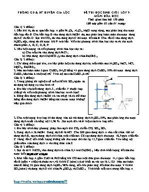 Đề thi học sinh giỏi môn Hóa học Lớp 9 - Phòng giáo dục và đào tạo huyện Gia Lộc (Có đáp án)
