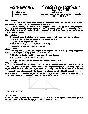 Đề thi khảo sát chất lượng đội tuyển học sinh giỏi Lớp 11 liên trường môn Hóa học - Năm học 2019-2020 - Trường THPT Triệu Sơn 5 (Có đáp án)