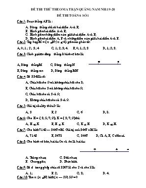 Đề thi thử môn Toán Lớp 6 theo ma trận tỉnh Quảng Nam - Năm học 2019-2020