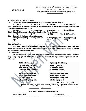 Đề thi thử tuyển sinh vào Lớp 10 THPT - Năm học 2019-2020 - Nguyễn Văn Lự (Có đáp án)