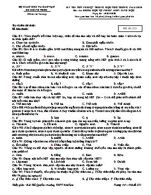 Đề thi Tốt nghiệp Trung học Phổ thông môn Sinh học năm 2020 - Mã đề 221 (Có đáp án)