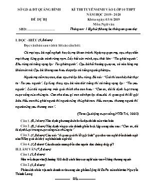 Đề thi tuyển sinh Lớp 10 THPT môn Ngữ văn - Đề dự bị - Năm học 2019-2020 - Sở giáo dục và đào tạo Quảng Bình (Có đáp án)