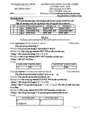 Đề thi tuyển sinh Lớp 10 THPT môn Tin học (Chuyên) - Năm học 2019-2020 - Sở giáo dục và đào tạo Quảng Bình