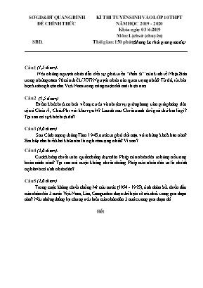 Đề thi tuyển sinh vào Lớp 10 THPT môn Lịch sử (Chuyên) - Năm học 2019-2020 - Sở giáo dục và đào tạo Quảng Bình (Có đáp án)