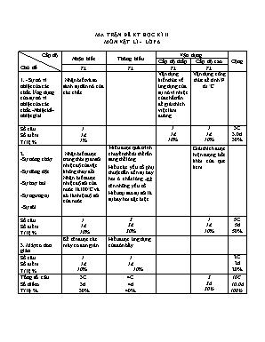 Ma trận đề kiểm tra học kì II môn Vật lí - Lớp 6 - Trường THCS An Sơn