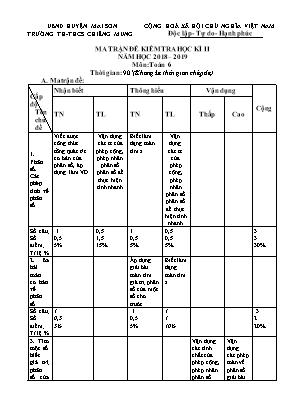 Ma trận và Đề kiểm tra học kỳ II môn Toán Lớp 6 - Năm học 2018-2019 - Trường TH và THCS Chiềng Mung