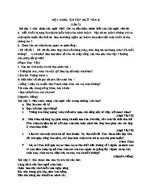 Nội dung ôn tập Ngữ văn 8 (Lần 3)