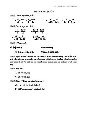 Phiếu bài tập số 3 - Môn Toán Lớp 6 - Phương Mai