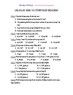 Trắc nghiệm chọn lọc Hóa học Lớp 8 - Chương III: Mol và tính toán hoá học