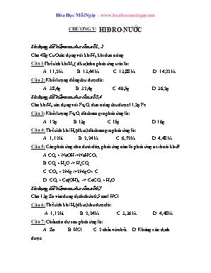Trắc nghiệm chọn lọc Hóa học Lớp 8 - Chương V: Hiđro - Nước
