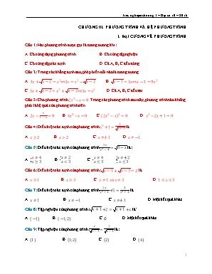 Trắc nghiệm Đại số Lớp 10 năm 2016 - Chương III: Phương trình và hệ phương trình