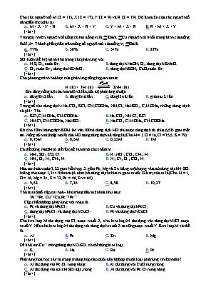 Bài kiểm tra môn Hóa học Lớp 8