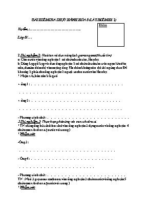 Bài kiểm tra thực hành Hóa học Lớp 8 (Lấy điểm hệ số 1)