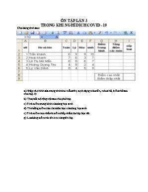 Bài tập ôn tập lần 3 môn Tin học Lớp 7 trong khi nghỉ dịch Covid-19