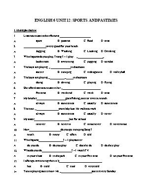 Bài tập Tiếng Anh Lớp 6 - Unit 12: Sports and pastimes