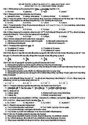 Bộ đề ôn tập kiểm tra học kỳ 2 môn Vật lý Lớp 12 – Năm học 2018-2019