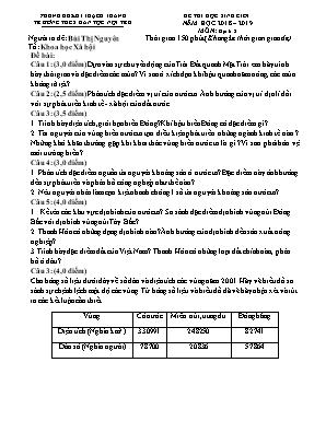 Bộ đề thi học sinh giỏi môn Địa lý Lớp 8 - Năm học 2018-2019 - Bùi Thị Xuyên