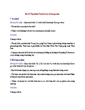 Câu hỏi ôn tập Địa lý Lớp 8 - Bài 18: Thực hành: Tìm hiểu Lào và Cam-pu-chia