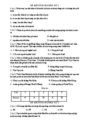 Đề bài kiểm tra học kỳ I môn Địa lý Lớp 9