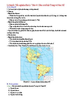 Đề cương Địa lý Lớp 7 - Bài 43: Dân cư xã hội Trung và Nam Mĩ