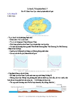Đề cương Địa lý Lớp 7 - Bài 47: Châu Nam Cực - Châu lục lạnh nhất thế giới