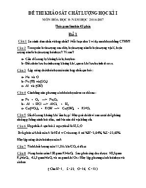 Đề khảo sát chất lượng học kì I môn Hóa học Lớp 8 - Trường THCS Hưng Chính - Năm học 2016-2017