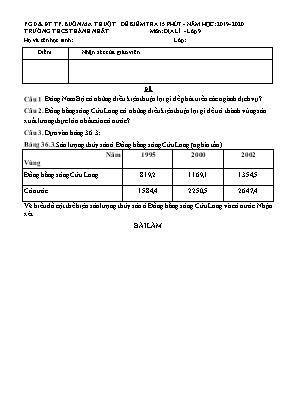 Đề kiểm tra 15 phút môn Địa lý Lớp 9 - Năm học 2019-2020 - Trường THCS Thành Nhất