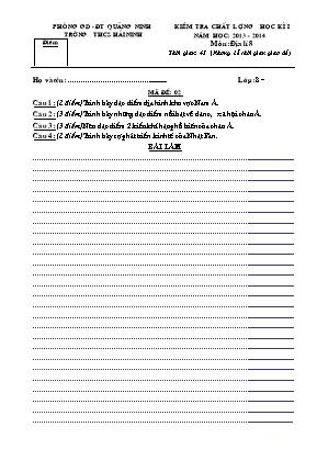 Đề kiểm tra chất lượng học kỳ I môn Địa lý Lớp 8 - Đề 02 - Năm học 2013-2014 - Trường THCS Hải Ninh