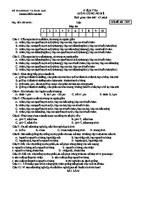 Đề kiểm tra học kì I môn Công nghệ Lớp 10 - Mã đề 209 - Trường THPT Lê Lợi