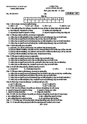 Đề kiểm tra học kì I môn Công nghệ Lớp 10 - Mã đề 485 - Trường THPT Lê Lợi